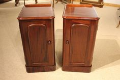 A true pair of Victorian Period mahogany antique bedside cabinets/cupboards.