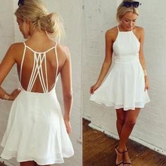 7f17aa2fba Halter White Homecoming Dress Short Party Dresses Bridsmaid Dresses on  Luulla White Party Dresses