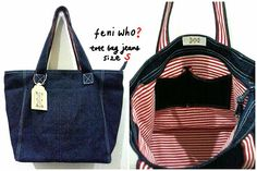 Jeans and canvas totebag