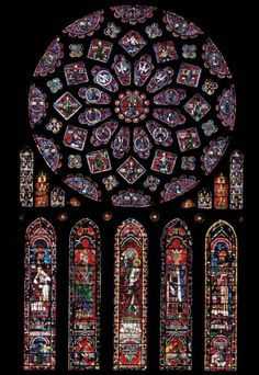 historicaldetailsandstuff:    Rose window and lancets, north transept, Chartres Cathedral, Chartres, France, ca. 1220. Stained glass, rose window 1.29 metres in diameter. The use of flying buttresses in Gothic cathedrals made possible the replacement of stone walls with immense stained-glass windows, which transformed natural sunlight into Abbot Suger's divine lux nova.