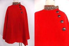 VINTAGE 60s Red Wool Cape Jacket Shawl Arm Slots Pockets Ethnic Swing Coat Aztec