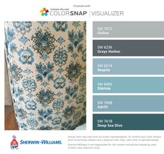 I found these colors with ColorSnap® Visualizer for iPhone by Sherwin-Williams: Online (SW 7072), Grays Harbor (SW 6236), Respite (SW 6514), Ebbtide (SW 6493), Adrift (SW 7608), Deep Sea Dive (SW 7618).