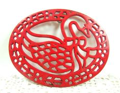 Avon Red Christmas Goose Cast Iron Trivet by MagnoliasAttic