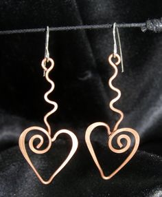 $15 RECYCLED Copper Wire SWIRL HEARTS handmade funky by LaraOwensArt, $14.99