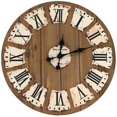 """Evoking cozy country cottages to the rolling hills of Provence, this charming design brings storied beauty to your den, dining room, or master suite.    Product: Wall clock    Construction Material: Wood and metal   Color: NaturalAccommodates: Batteries - not included               Dimensions: 24"""" Diameter x 2"""" D"""