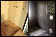 Før og etter #membran og #flislegging av dusjhjørne. #Svart og #hvit #mosaikk og stilige steiner på dusjgulvet.