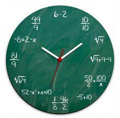 Blackboard Wall Clock for you who likes math and wants a new . Blackboard Wall Clock for those who like math and want a geeky clock to decorate their geek environment. Diy Clock, Clock Decor, Diy Wall Decor, Clock Ideas, Home Decoration, Creative Wall Decor, Creative Walls, Room Decorations, Cool Clocks