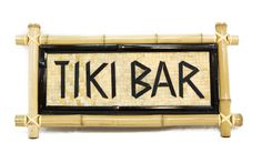 Bamboo Sign - Tiki Bar. As your friends and family come to gather under the comfort of your new backyard Tiki hut, greet them with the bamboo Tiki Bar sign! Theres no better way to feel as though youre truly on an island getaway than to surround yourself with items that remind you of paradise.