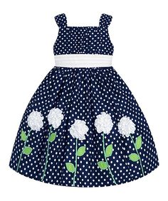 Navy & White Polka Dot Floral Dress - Toddler & Girls by American Princess Little Girl Dresses, Girls Dresses, Toddler Girl Dresses, Toddler Girls, Infant Toddler, Infant Girls, Dress With Cardigan, Cute Outfits For Kids, Trendy Outfits