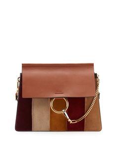 L0NRR Chloe Faye Patchwork Leather Shoulder Bag, Caramel