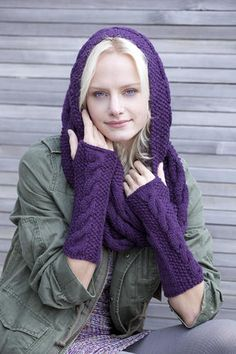 Free Knit Cowl and Arm Warmers Pattern. I'm addicted to fingerless gloves. #knitting