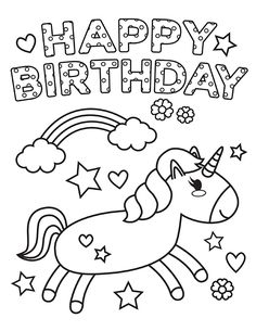 Free & Easy To Print Happy Birthday Coloring Pages - Tulamama Happy Birthday Crafts, Happy Birthday Drawings, Preschool Birthday, Happy Birthday Mom, 90th Birthday, Birthday Gifts, Coloring Birthday Cards, Happy Birthday Coloring Pages, Unicorn Birthday Cards