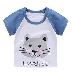 Department Name: ChildrenItem Type: TopsTops Type: TeesStyle: CasualMaterial: CottonGender: UnisexSleeve Length(cm): ShortCollar: O-NeckFit Season: Spring & Summer & Autumn Cute Outfits For Kids, Baby Boy Outfits, Cute White Tops, Baby Girl Tops, Baby Boys, Hot Dads, New Years Sales, Cat Shirts, Cotton Style