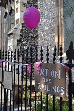 Art on the Railings Railings, Chandelier, Ceiling Lights, Summer, Decor, Art, Art Background, Candelabra, Summer Time
