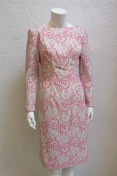 1960's  Pink and Silver Shift Style Cocktail Dress With Low Back Line - 27 Inch Waist by MTvintageclothing on Etsy