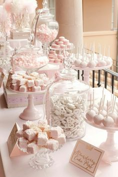 dessert bars Planning a sweet table for a wedding? Here is How To Set Up A Candy Bar At A Wedding Reception. Be sure to steal these sweet table ideas for a wedding. Candybar Wedding, Wedding Desserts, Wedding Decorations, Elegant Desserts, Pink Decorations, Bridal Shower Desserts, Easy Desserts, Elegant Cakes, Mini Desserts