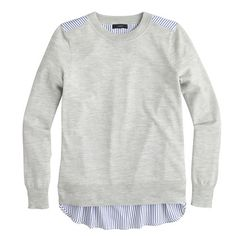 I LOVE shirting fabric used in different ways. (J.Crew - mixed media sweater in heather dusk)