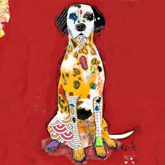 Original Dog Art Dalmation Mixed Media Abstract Collage Art Painting by Michel Keck. Abstract Canvas Art, Canvas Art Prints, Le Chihuahua, Gauguin, Dog Artist, Mary Cassatt, Saatchi Online, Dog Paintings, Henri Matisse