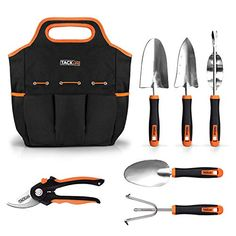 TACKLIFE Garden Tools Set, 7 Piece Stainless Steel Heavy Duty Gardening kit with Soft Rubberized Non-Slip Handle -Durable Storage Tote Bag and Pruning Shears - Garden Gifts for Men & Women Garden Tool Storage, Garden Tool Set, Garden Ideas, Box Garden, Best Garden Tools, Gardening Gloves, Gardening Tools, Organic Gardening, Home Vegetable Garden