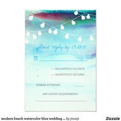 modern beach watercolor blue wedding RSVP cards