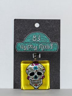 MS 148  Glass Pendant  Sugar Skull by 83GypsyRoad on Etsy