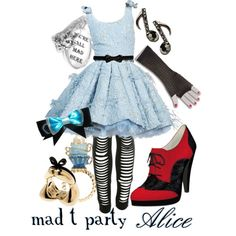 Mad T Party Alice by princesschandler on Polyvore featuring Miss Selfridge, Shoes of Prey, Forum and Burberry