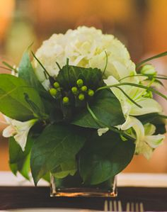 White & Green Centerpieces