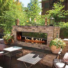 Empire Carol Rose Linear Outdoor See-Through Fireplace - Outdoor Gas Fireplace, Outside Fireplace, Linear Fireplace, Backyard Fireplace, Backyard Patio, Backyard Landscaping, Outdoor Fireplace Designs, Gas Fireplaces, Cozy Patio