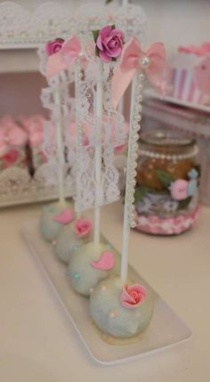 Shabby chic baptism party cake pops! See more party ideas at CatchMyParty.com!