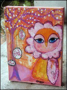 Art Box e Gufetta Sono Pronti a Spiccare il Volo  {mixed media watercolour whimsical painting}