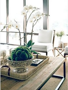 Style Profile: Carrier and Company White Orchids, Coffe Table Centerpieces, Table Decorations, Coffee Table Tray, Coffee Table Styling, Decorating Coffee Tables, Slipper Chairs, Artificial Orchids, Trays