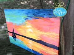 Nautical Sunset Sailboat Painting on Canvas I played around with & I actually love the finished product Nautical Canvas Art, Nautical Painting, Sailboat Art, Sailboat Painting, Canvas Wall Art, Spring Painting, Sky Art, Art Party, Painting Inspiration