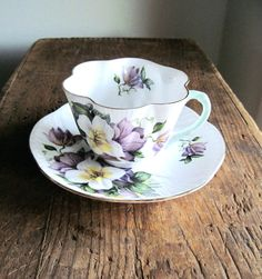 Vintage Shelley Bone China Cup and Saucer by RushCreekVintage, $85.00