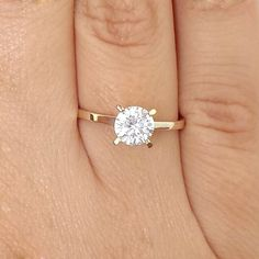 1 CT ROUND CUT SOLITAIRE VS2/H DIAMOND ENGAGEMENT RING 14k YELLOW GOLD #AffinityJewelry #Solitaire