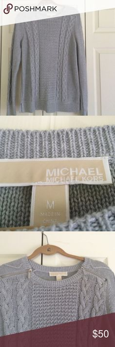 Michael kors sweater Grey Michael kors sweater with detailing. The shoulders have zipper and it's very comfy and warm Sweaters Crew & Scoop Necks