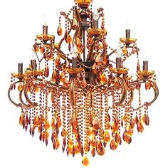 Chandelier Amber Gold w/ Bronze Finished Iron UL Listed New Free shipping #asd