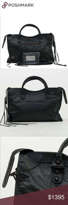 Balenciaga classic city bag black leather NWT 💯 AUTHENTIC  🎀 BRAND NEW ⛔️ NO TRADES  ⬇️ DISCOUNTED  ✈️ SHIPS QUICKLY   AUTHENTICITY AND QUALITY WILL BE VERIFIED BY POSHMARK CONCIERGE PRIOR TO BUYER RECEIVING THEIR ORDER.   Prior to purchasing the bag, try it in person at your local boutique or department shop to make sure that you are happy with the size and overall look. If you ask for dimensions, it means you have no idea what you're buying.   Serious inquiries only! Balenciaga Bags…