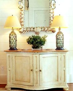 shells glued to mirror frame -- ciao! newport beach: decorating with sea shells Decor, Vase Lamp, Beach Cottage Decor, Tropical Decor, Cottage Decor, Home Decor, Beach Decor, Shell Decor, Bottle Table Lamps