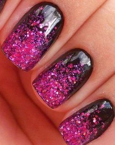 Pink & Black Sparkle Ombre Nails