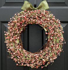 Berry Wreath  Pink Wreath  Door Wreath by EverBloomingOriginal, $59.00