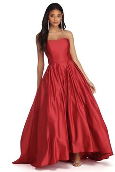 Windsor Dahlia Sweetheart Satin Ball Gown in Red Beautiful Evening Gowns, Lovely Dresses, Unique Dresses, Dress Outfits, Casual Dresses, Formal Dresses, Red Colour Dress, Strapless Dress Formal, Prom Dresses