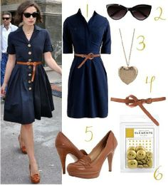 navy shirt dress fitted at waist - heeled oxfords (there are better michael kors wedge versions)
