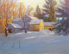 David Lussier Gallery of Fine Art - DAVID'S COLLECTED WORK Paintings I Love, Beautiful Paintings, Art Paintings, Winter Landscape, Landscape Art, Landscape Paintings, Painting Snow, Winter Painting, Acrylic Painting Inspiration