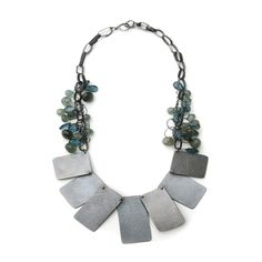 Panel necklace by Karen Gilbert, oxidized sterling silver, stone beads. Gallery Lulo.
