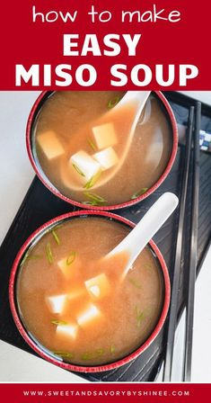 This simple, yet deliciously satisfying, Miso soup is so easy to make at home! In this post, you'll learn what is miso paste, how to choose one and where to buy it. #misosoup #misosouprecipe #misosouprecipeeasy Great Dinner Recipes, Easy Soup Recipes, Dinner Ideas, Simple Recipes, Chili Recipes, Bread Appetizers, Appetizer Recipes, Miso Chicken, Miso Soup