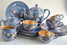 Cherry Blossom Lusterware Made in Japan Blue and Peach. $120.00, via Etsy. - I have the same teapot!