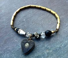 foolish heart watch band assemblage bracelet by BabilandBijouAnnex