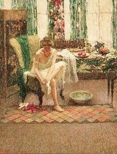 The Footbath, 1917. Helen M. Turner (1858-1958) American Impressionist Artist. (Oil on Canvas) By Lili Artistsandart. Blog of an Art Admirer ~ Paintings by Old Masters, Modern and Contemporary Artists, Famous and Less Known Fine Art. [blog] Posted March 2010.   §   Pictured:  A Woman Wearing a White Slip and a Red Necklace Sitting on an Armchair Washing Her Bare Feet with a Bowl of Water beside Her