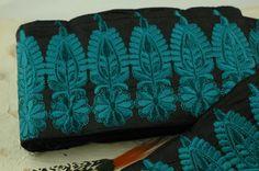 """Gefiedert Blüte blaugrün, Black Trim /Sari Grenze-/India, 4 5/8 """"x 1 Yard / dunkelgrau, Garten frische Boho Sommermode, Dekoration, Bastelbedarf"""