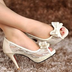 Handmade ivory white lace wedding shoes, 2014 genuine leather lace peep toe wedding heels